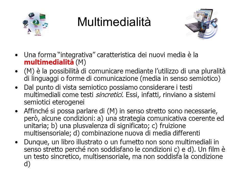 Multimedialità Una forma integrativa caratteristica dei nuovi media è la multimedialità (M)