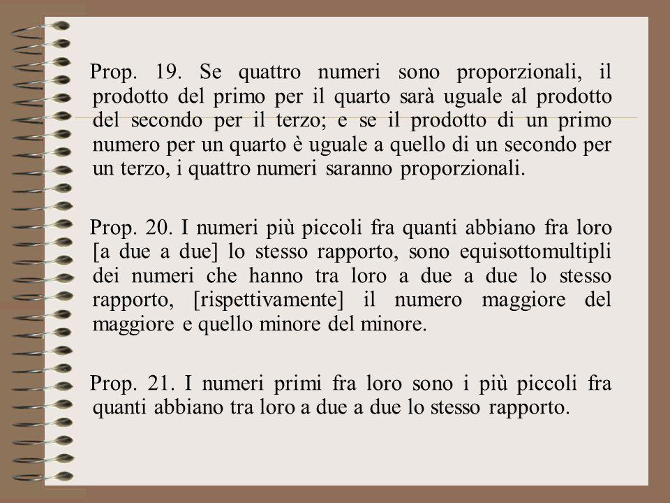 Prop. 19. Se quattro numeri sono proporzionali, il prodotto del primo per il quarto sarà uguale al prodotto del secondo per il terzo; e se il prodotto di un primo numero per un quarto è uguale a quello di un secondo per un terzo, i quattro numeri saranno proporzionali.