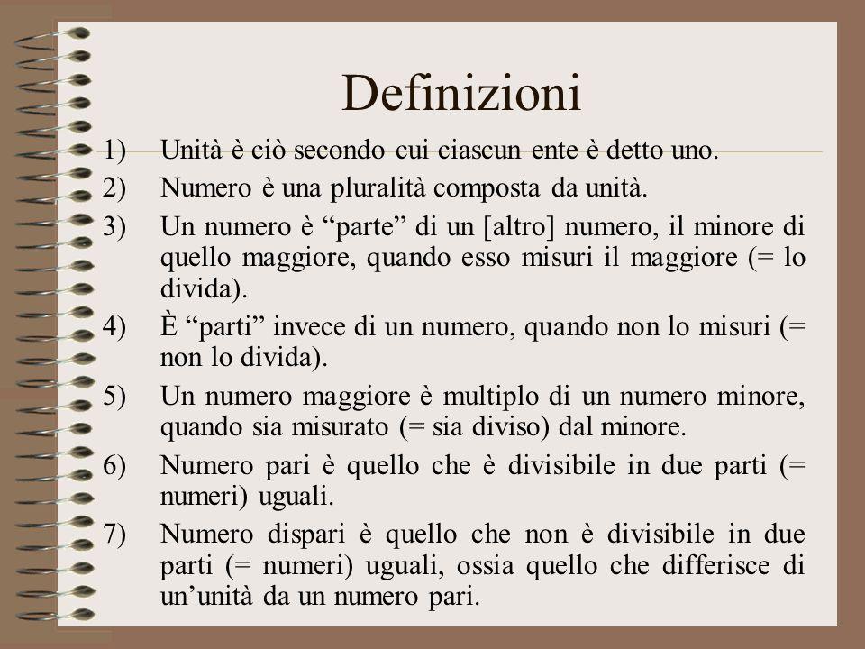 Definizioni Unità è ciò secondo cui ciascun ente è detto uno.
