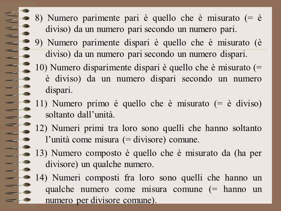 8) Numero parimente pari è quello che è misurato (= è diviso) da un numero pari secondo un numero pari.