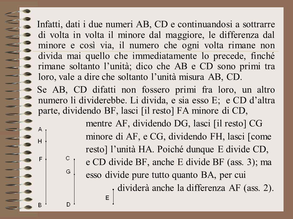 Infatti, dati i due numeri AB, CD e continuandosi a sottrarre di volta in volta il minore dal maggiore, le differenza dal minore e così via, il numero che ogni volta rimane non divida mai quello che immediatamente lo precede, finché rimane soltanto l'unità; dico che AB e CD sono primi tra loro, vale a dire che soltanto l'unità misura AB, CD.