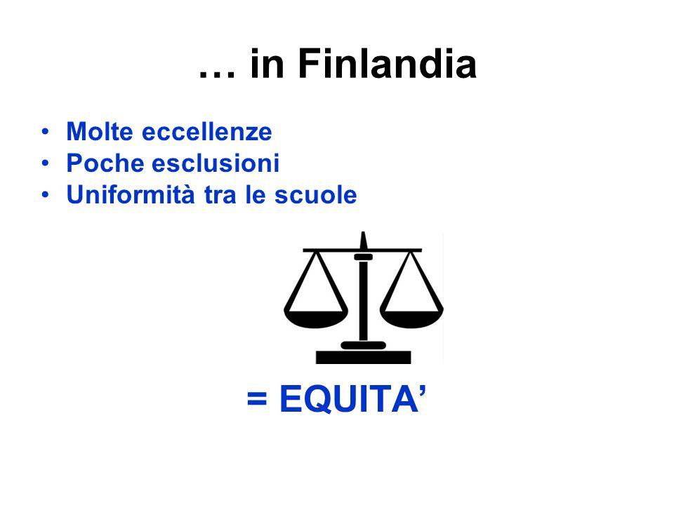 … in Finlandia = EQUITA' Molte eccellenze Poche esclusioni