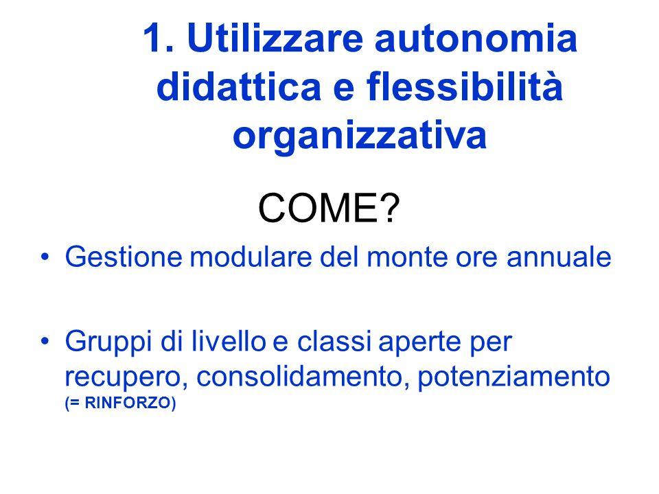 1. Utilizzare autonomia didattica e flessibilità organizzativa