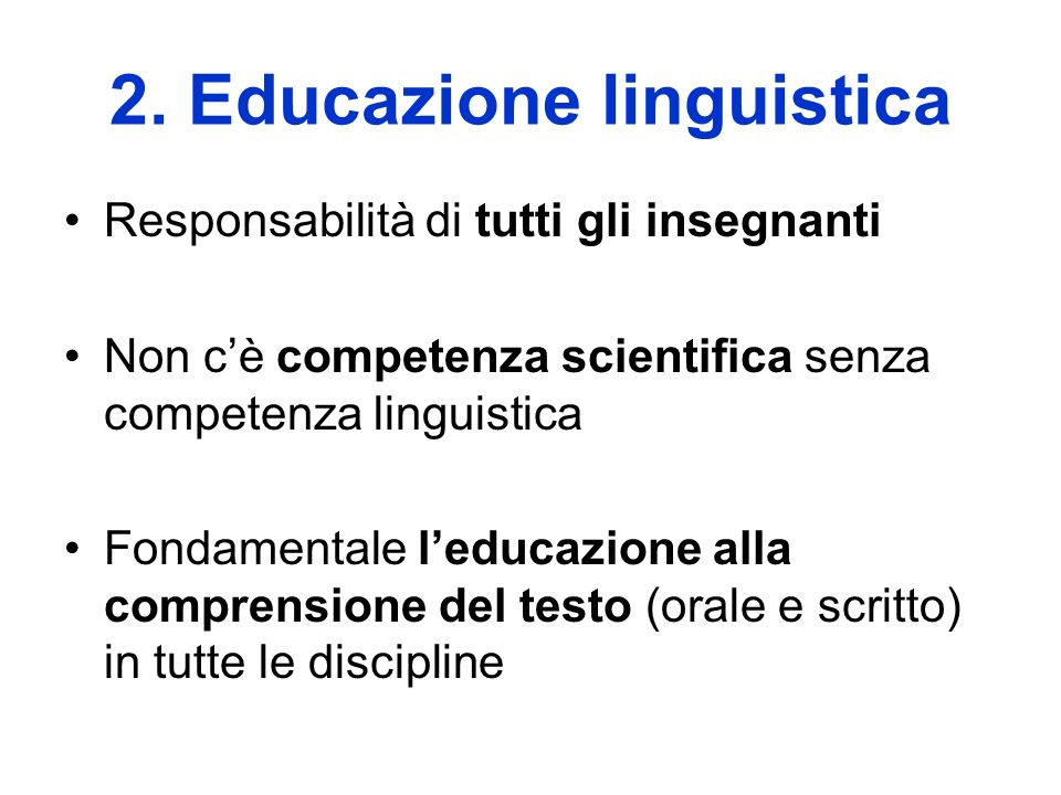 2. Educazione linguistica