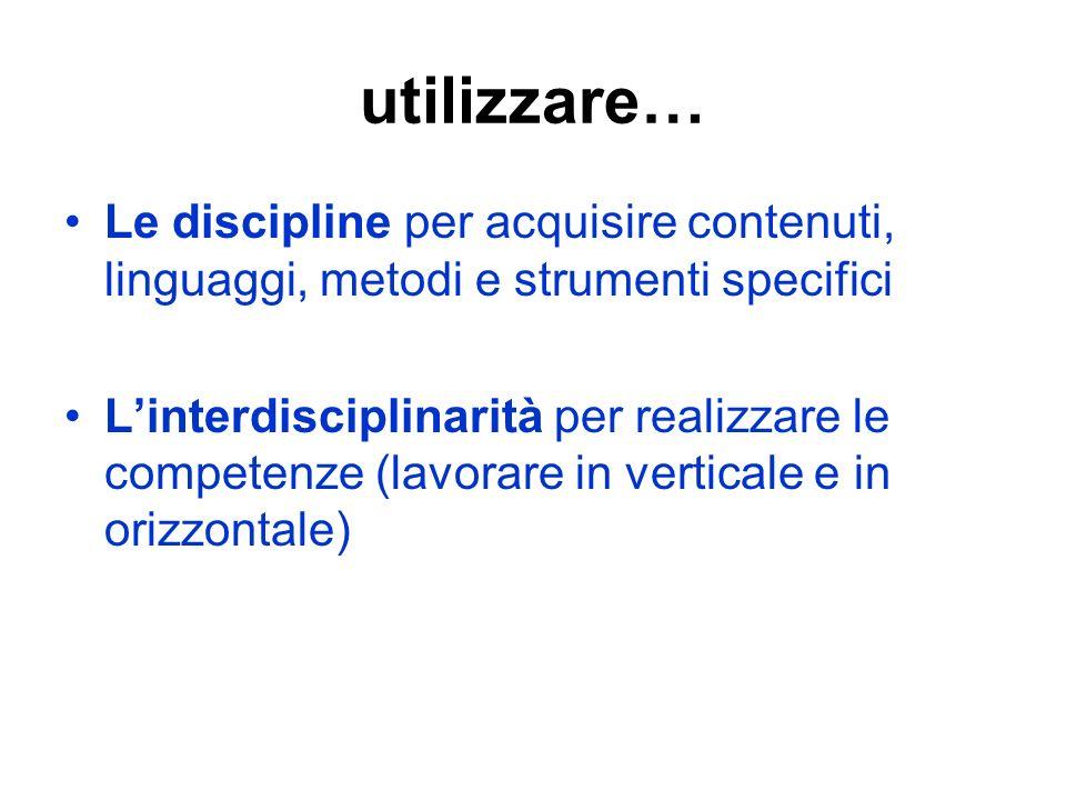 utilizzare… Le discipline per acquisire contenuti, linguaggi, metodi e strumenti specifici.