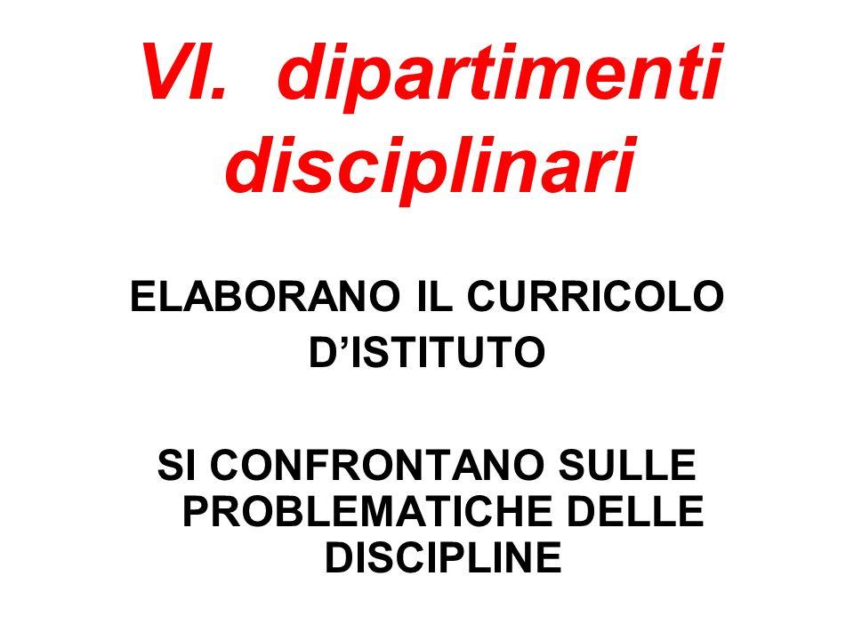 VI. dipartimenti disciplinari