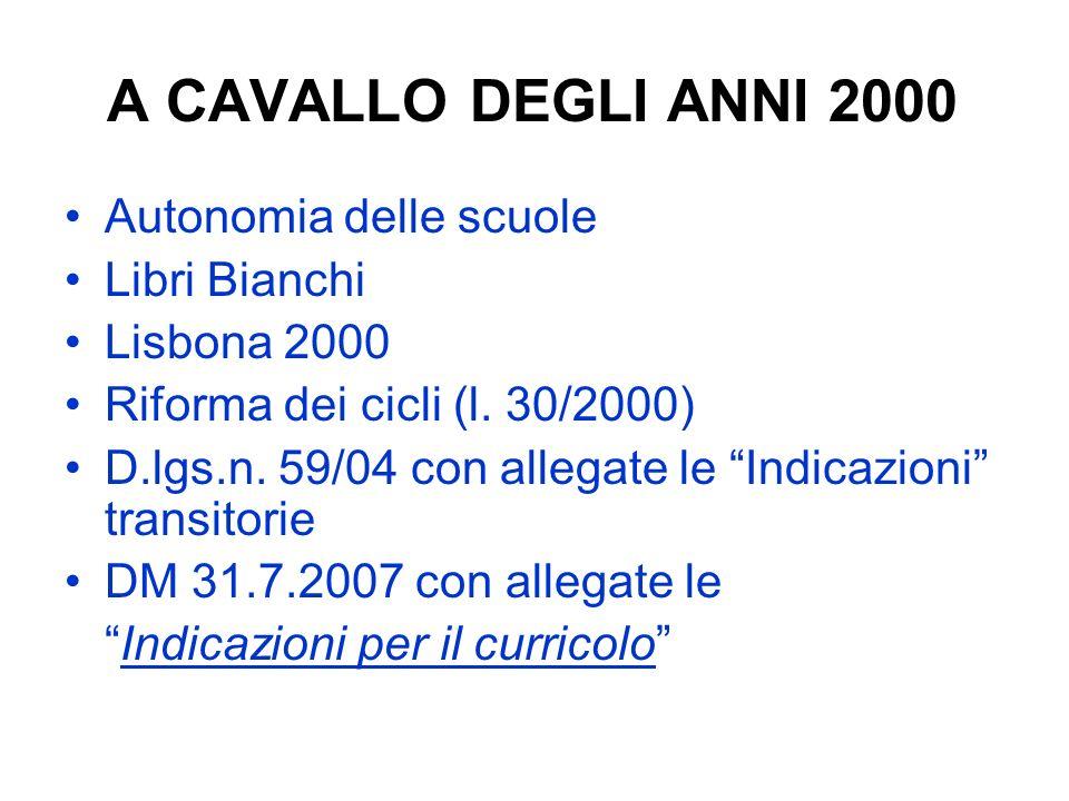 A CAVALLO DEGLI ANNI 2000 Autonomia delle scuole Libri Bianchi