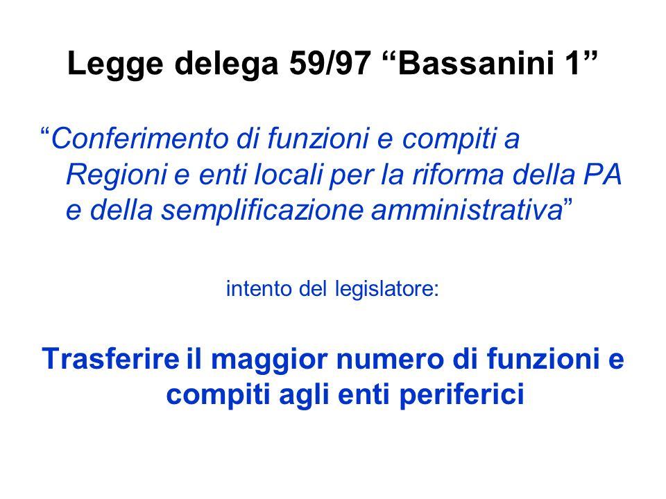 Legge delega 59/97 Bassanini 1