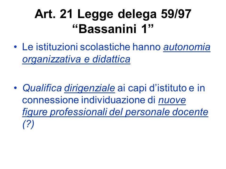 Art. 21 Legge delega 59/97 Bassanini 1