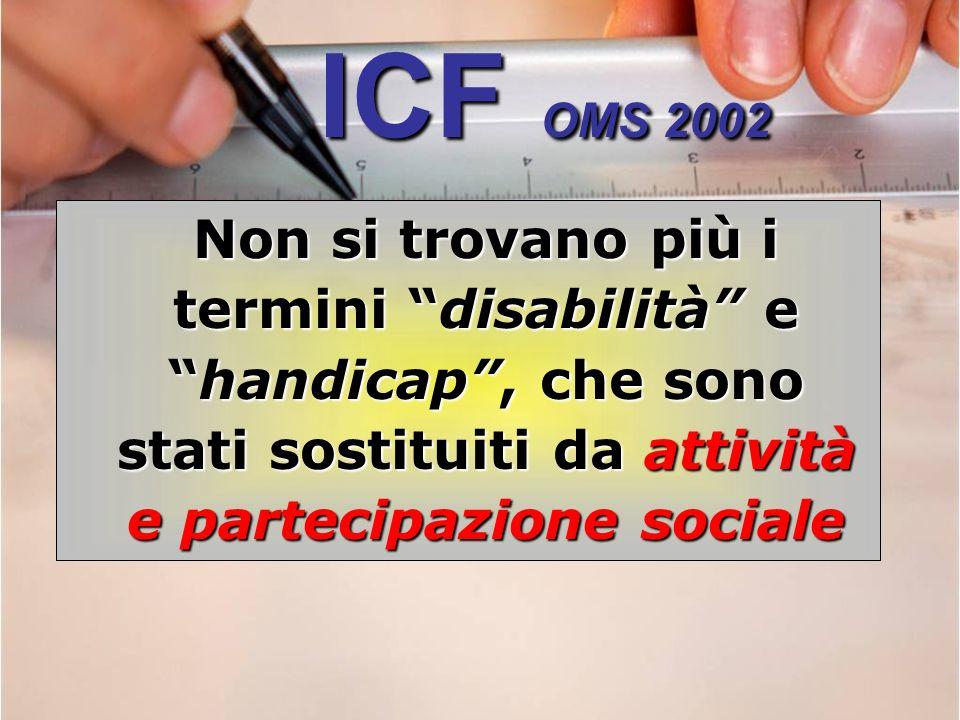 ICF OMS 2002 Non si trovano più i termini disabilità e handicap , che sono stati sostituiti da attività e partecipazione sociale.