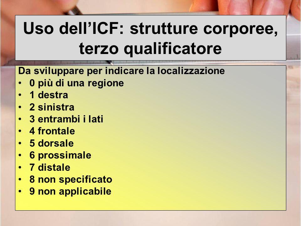 Uso dell'ICF: strutture corporee, terzo qualificatore