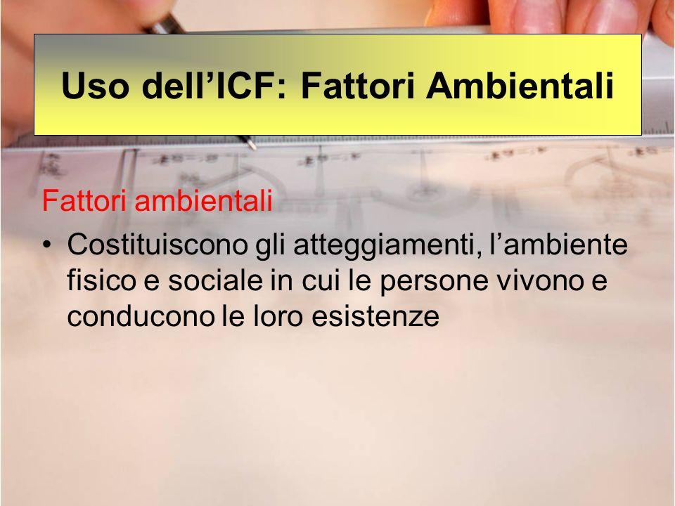 Uso dell'ICF: Fattori Ambientali