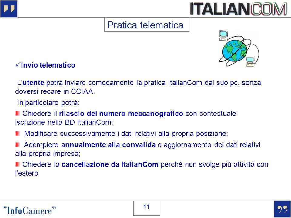 Pratica telematica Invio telematico