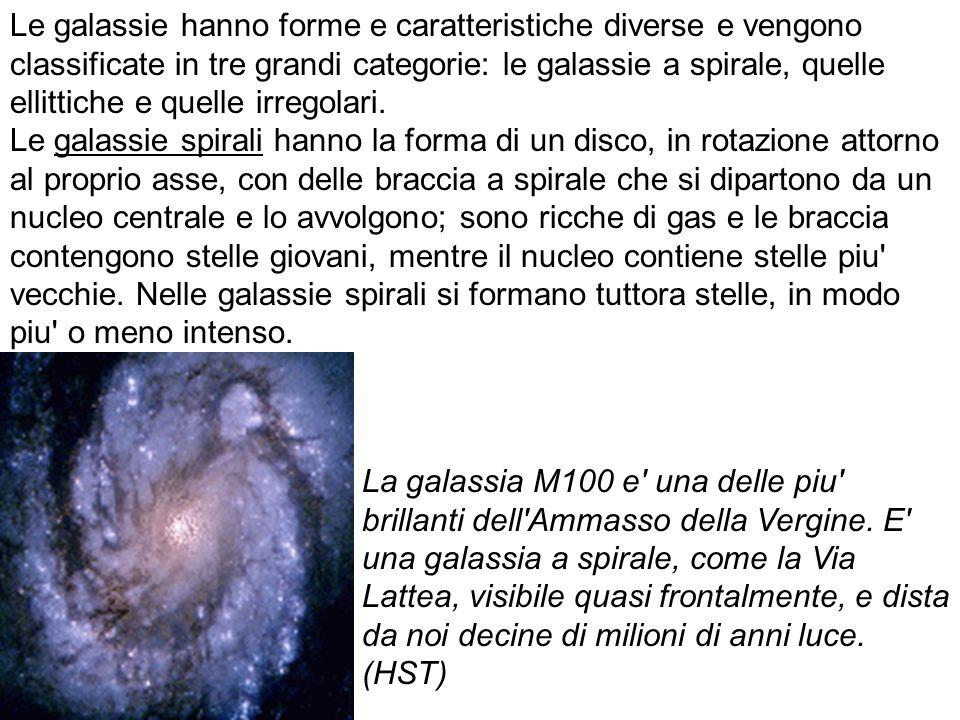 Le galassie hanno forme e caratteristiche diverse e vengono classificate in tre grandi categorie: le galassie a spirale, quelle ellittiche e quelle irregolari. Le galassie spirali hanno la forma di un disco, in rotazione attorno al proprio asse, con delle braccia a spirale che si dipartono da un nucleo centrale e lo avvolgono; sono ricche di gas e le braccia contengono stelle giovani, mentre il nucleo contiene stelle piu vecchie. Nelle galassie spirali si formano tuttora stelle, in modo piu o meno intenso.