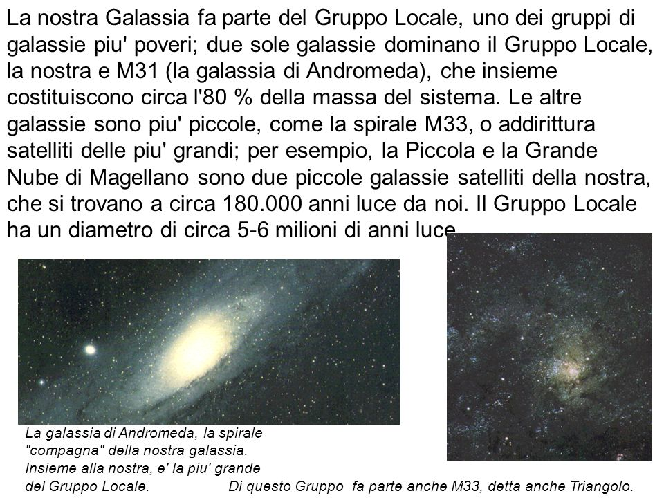 La nostra Galassia fa parte del Gruppo Locale, uno dei gruppi di galassie piu poveri; due sole galassie dominano il Gruppo Locale, la nostra e M31 (la galassia di Andromeda), che insieme costituiscono circa l 80 % della massa del sistema. Le altre galassie sono piu piccole, come la spirale M33, o addirittura satelliti delle piu grandi; per esempio, la Piccola e la Grande Nube di Magellano sono due piccole galassie satelliti della nostra, che si trovano a circa 180.000 anni luce da noi. Il Gruppo Locale ha un diametro di circa 5-6 milioni di anni luce.