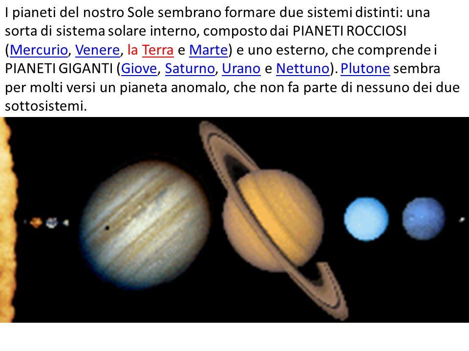 I pianeti del nostro Sole sembrano formare due sistemi distinti: una sorta di sistema solare interno, composto dai PIANETI ROCCIOSI (Mercurio, Venere, la Terra e Marte) e uno esterno, che comprende i PIANETI GIGANTI (Giove, Saturno, Urano e Nettuno).
