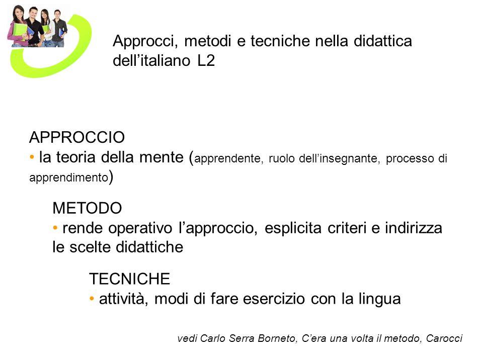 Approcci, metodi e tecniche nella didattica dell'italiano L2