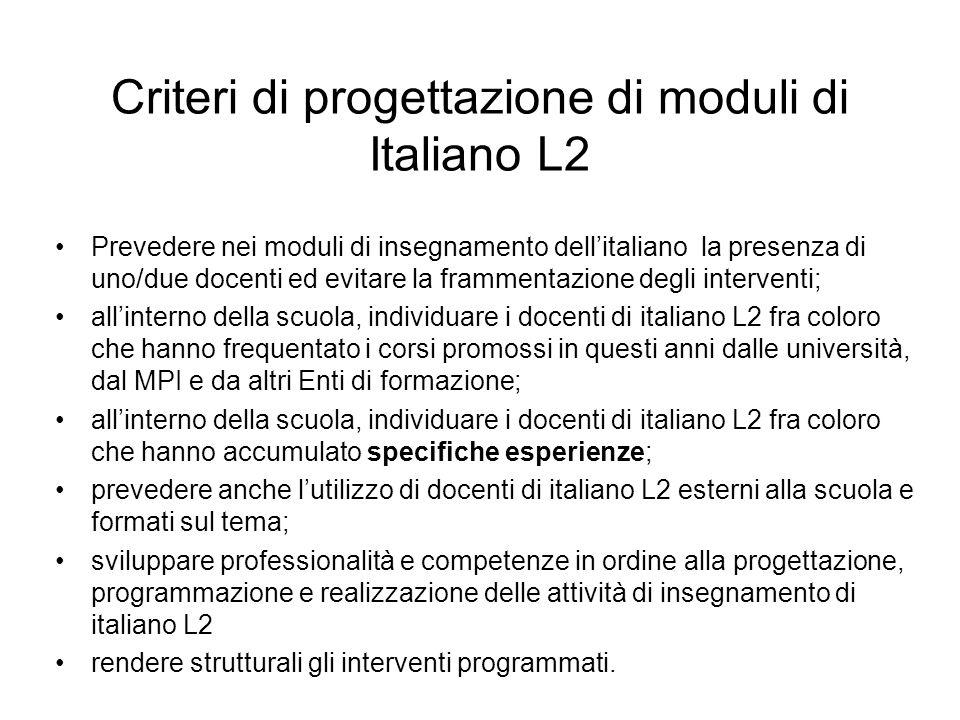 Criteri di progettazione di moduli di Italiano L2