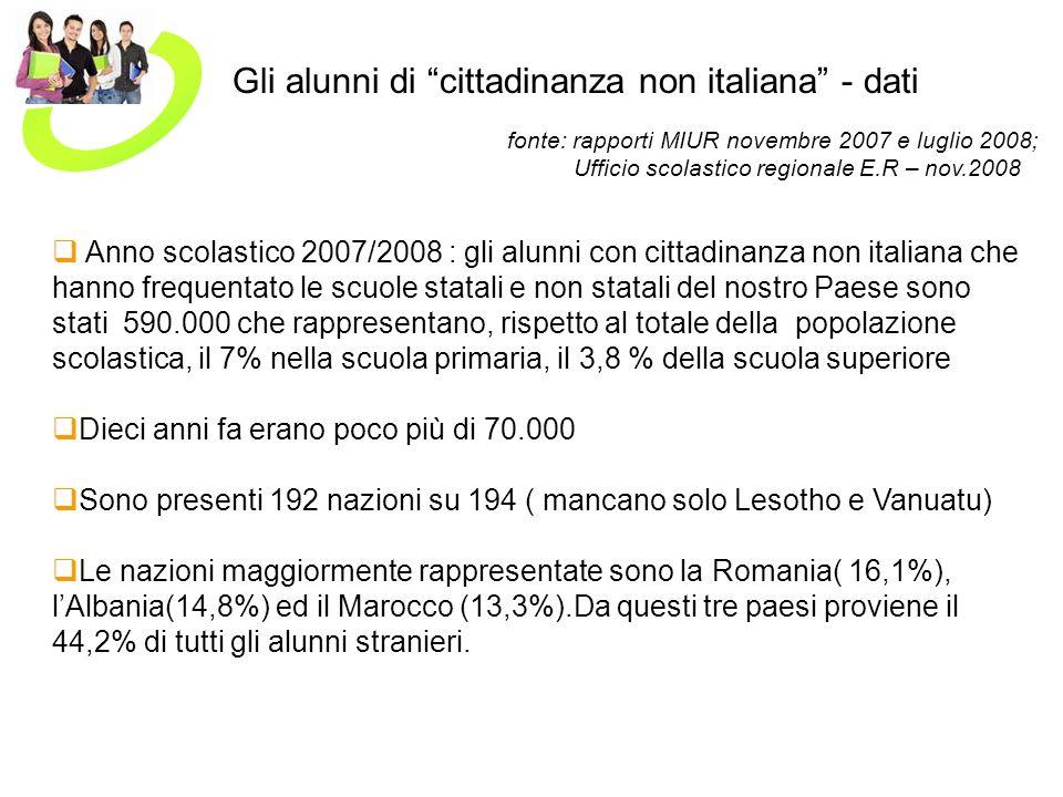 Gli alunni di cittadinanza non italiana - dati