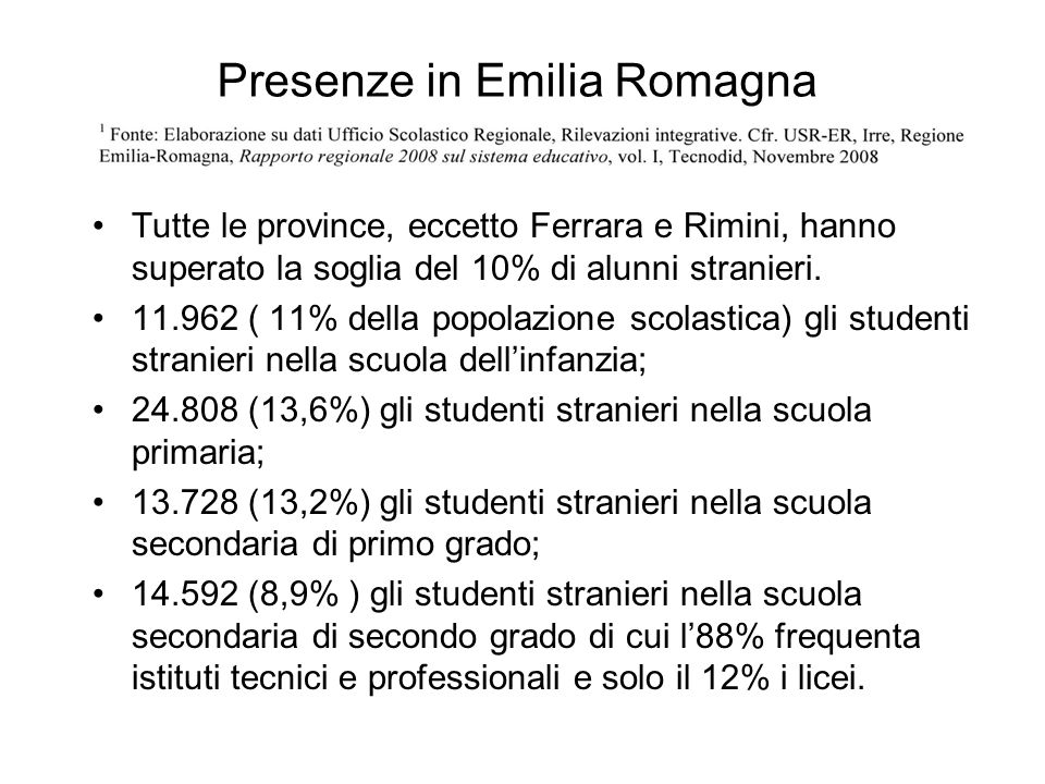Presenze in Emilia Romagna