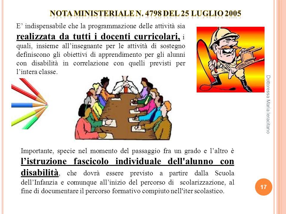 NOTA MINISTERIALE n. 4798 del 25 luglio 2005