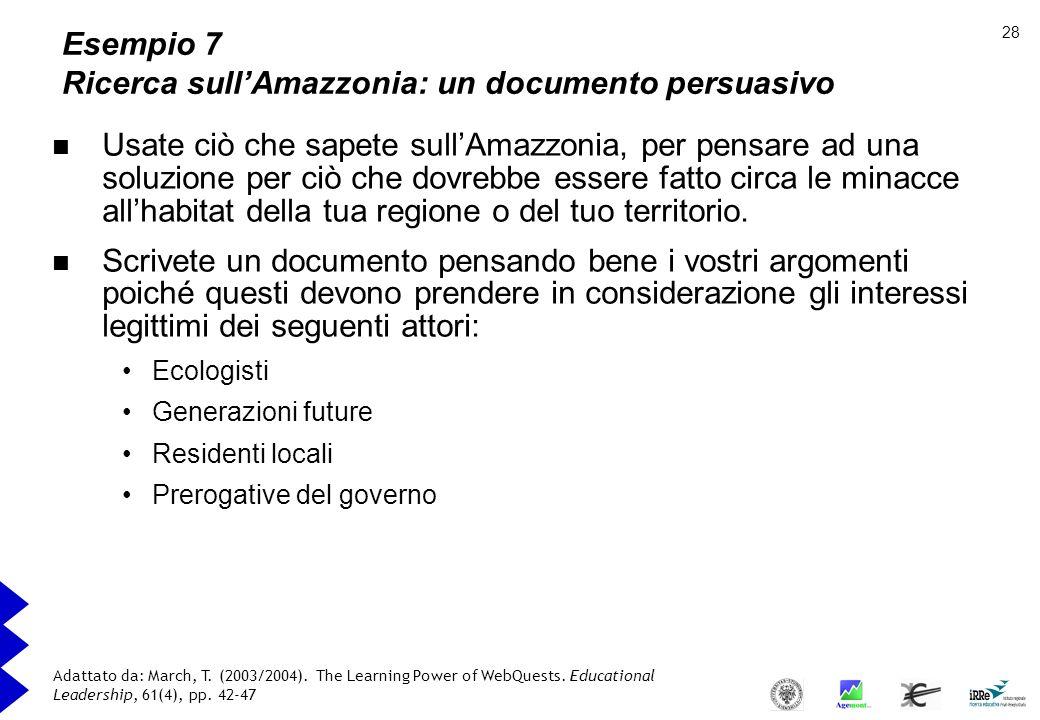 Esempio 7 Ricerca sull'Amazzonia: un documento persuasivo