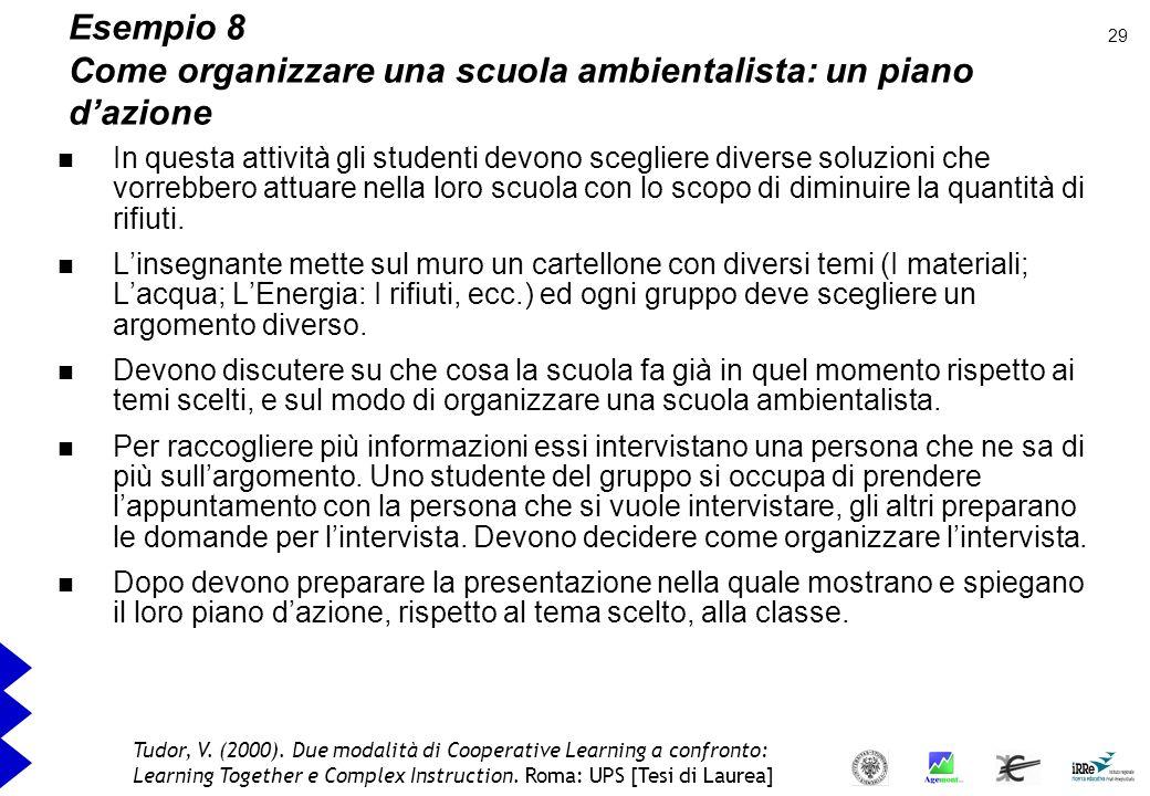 Esempio 8 Come organizzare una scuola ambientalista: un piano d'azione