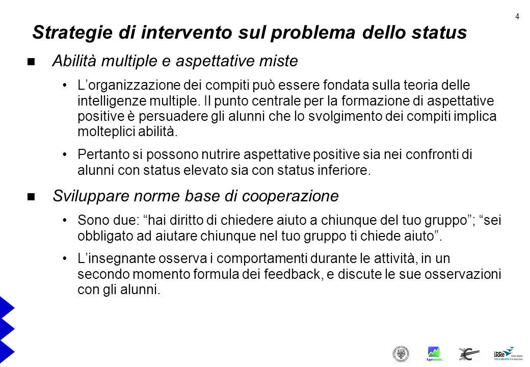 Strategie di intervento sul problema dello status