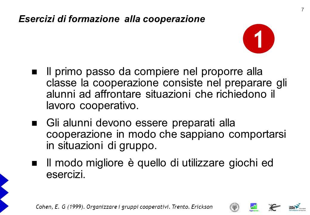 Esercizi di formazione alla cooperazione