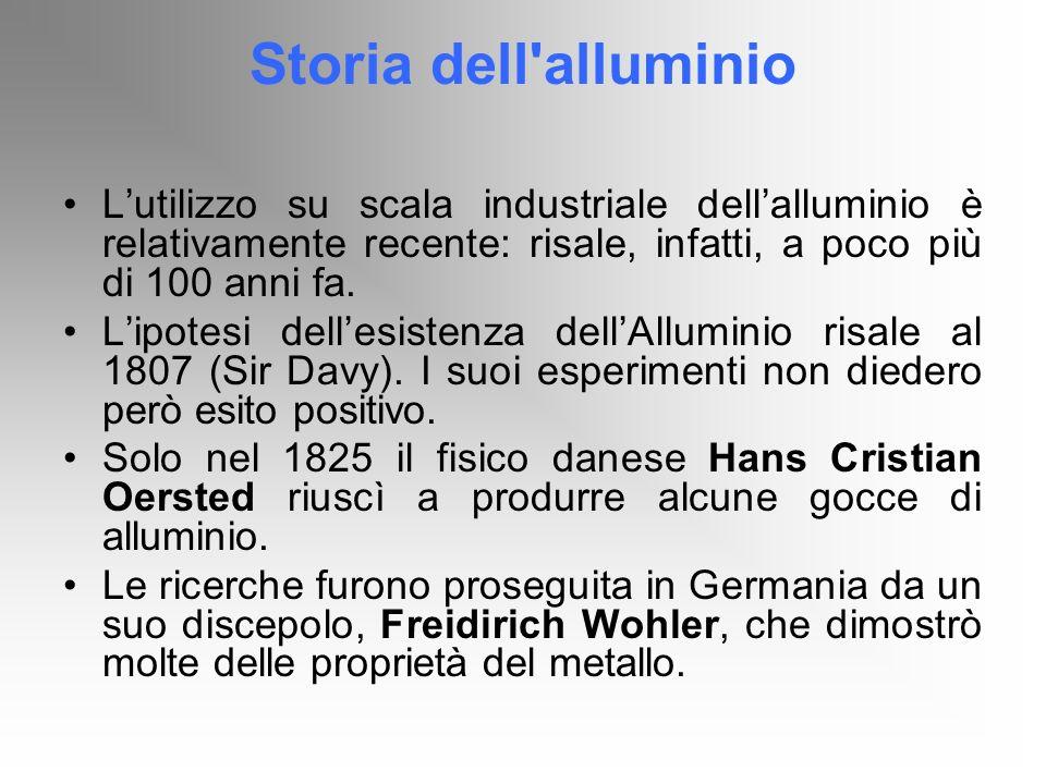 Storia dell alluminio L'utilizzo su scala industriale dell'alluminio è relativamente recente: risale, infatti, a poco più di 100 anni fa.