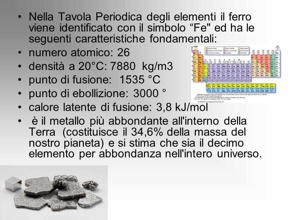Nella Tavola Periodica degli elementi il ferro viene identificato con il simbolo Fe ed ha le seguenti caratteristiche fondamentali: