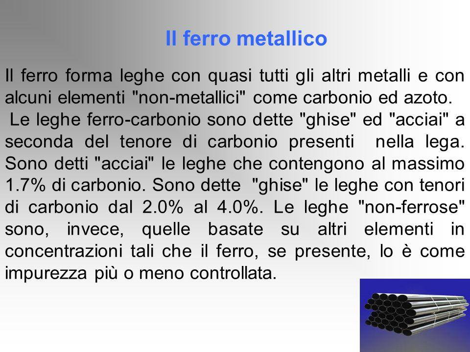 Il ferro metallicoIl ferro forma leghe con quasi tutti gli altri metalli e con alcuni elementi non-metallici come carbonio ed azoto.