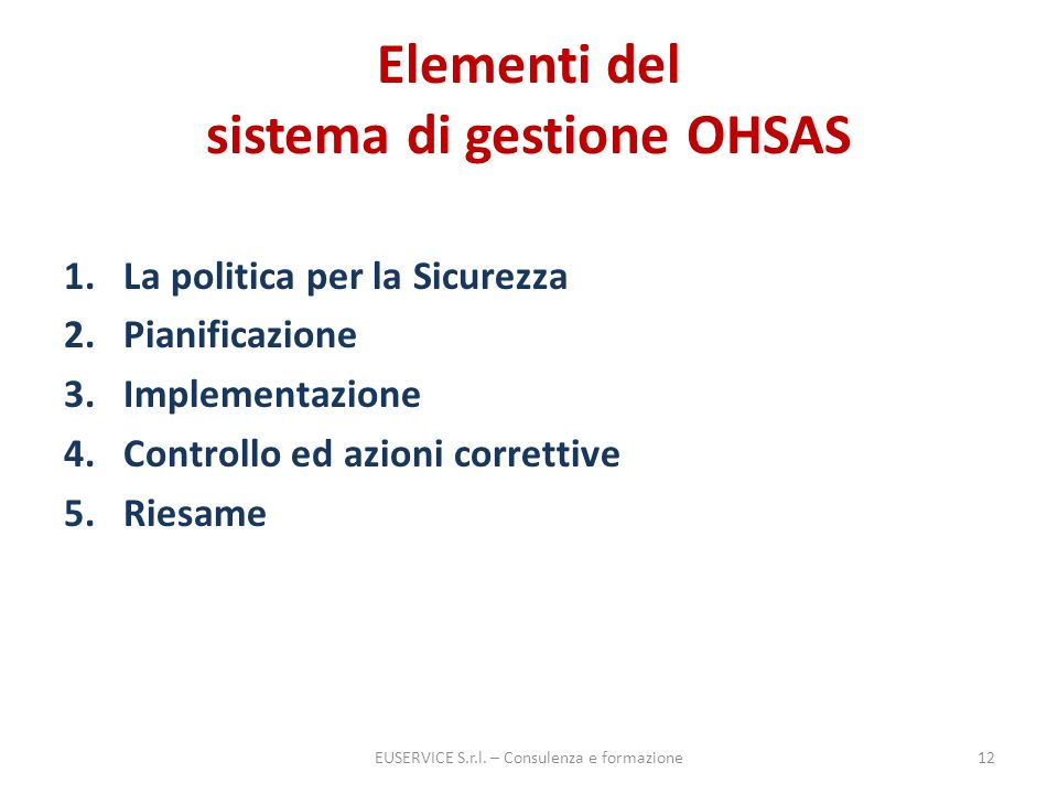 Elementi del sistema di gestione OHSAS