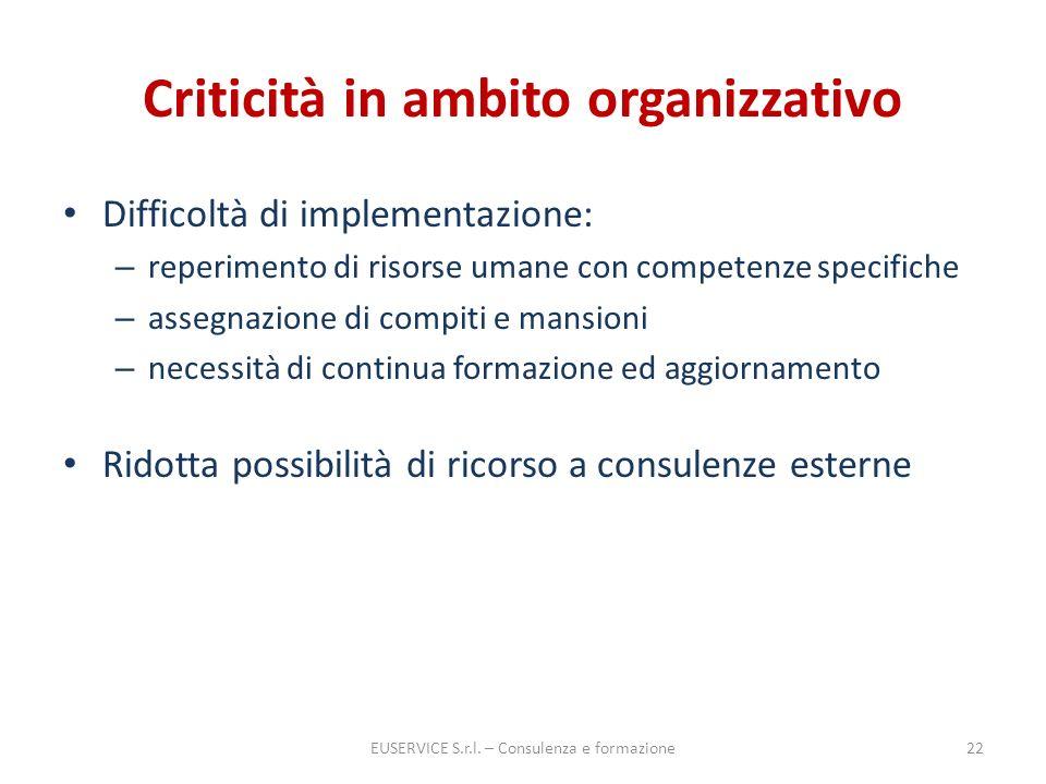 Criticità in ambito organizzativo