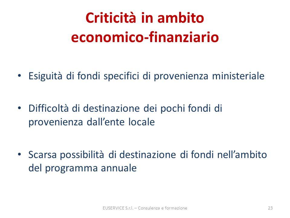 Criticità in ambito economico-finanziario