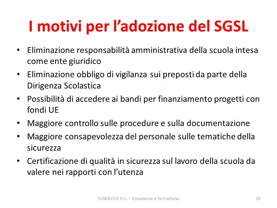 I motivi per l'adozione del SGSL