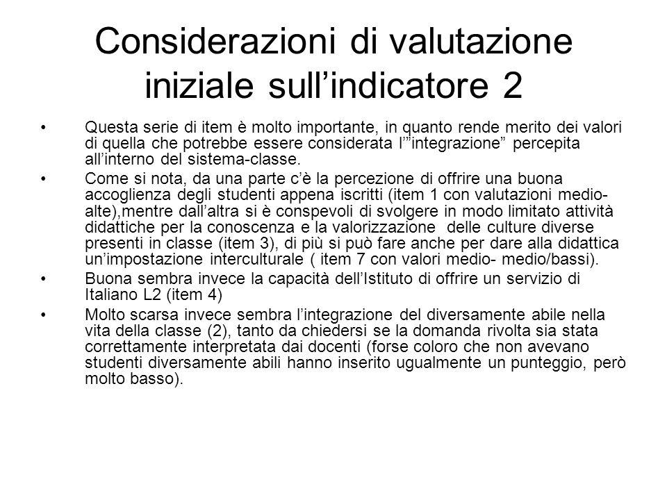 Considerazioni di valutazione iniziale sull'indicatore 2