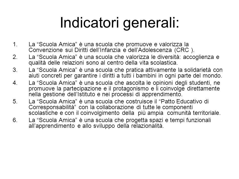 Indicatori generali: La Scuola Amica è una scuola che promuove e valorizza la Convenzione sui Diritti dell'Infanzia e dell'Adolescenza (CRC ).