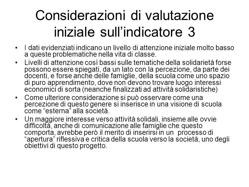 Considerazioni di valutazione iniziale sull'indicatore 3