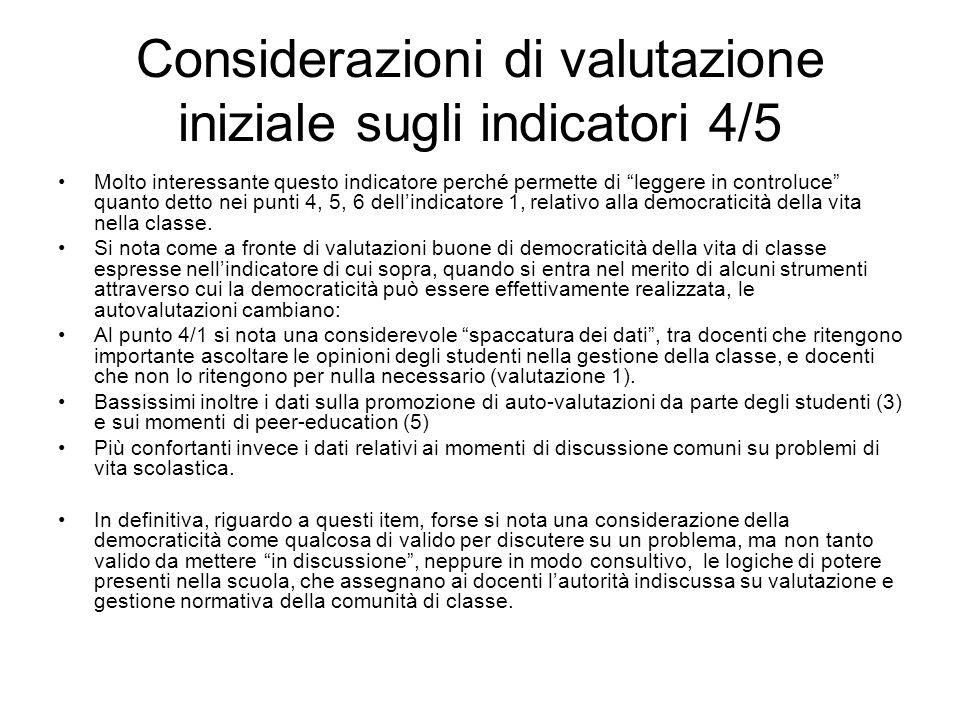 Considerazioni di valutazione iniziale sugli indicatori 4/5