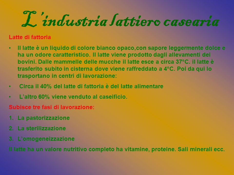 L'industria lattiero casearia