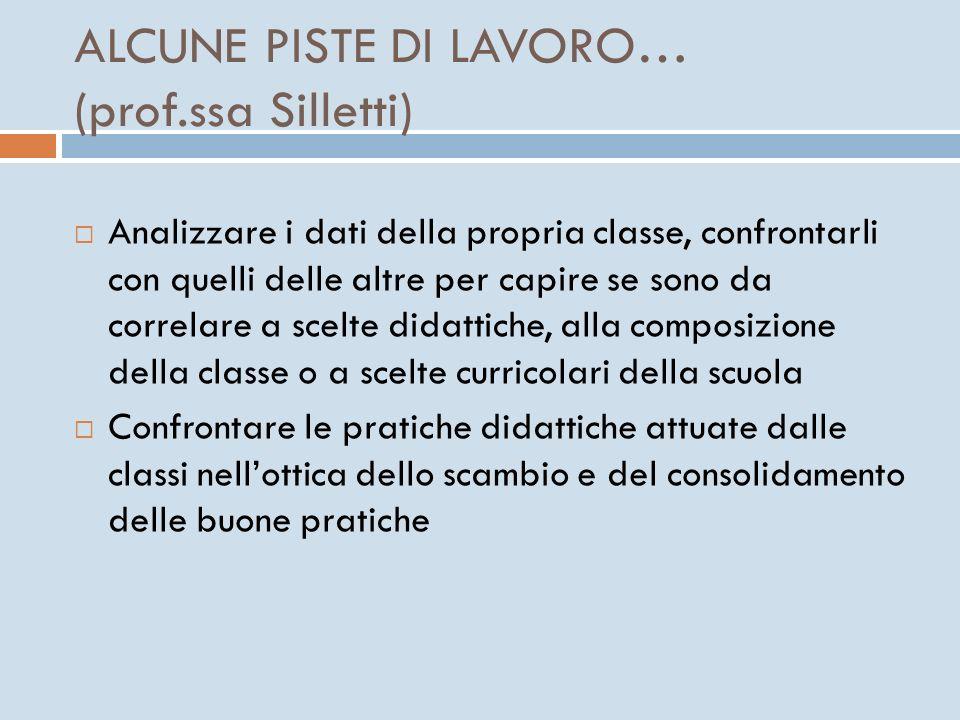 ALCUNE PISTE DI LAVORO… (prof.ssa Silletti)