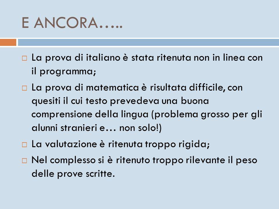 E ANCORA….. La prova di italiano è stata ritenuta non in linea con il programma;