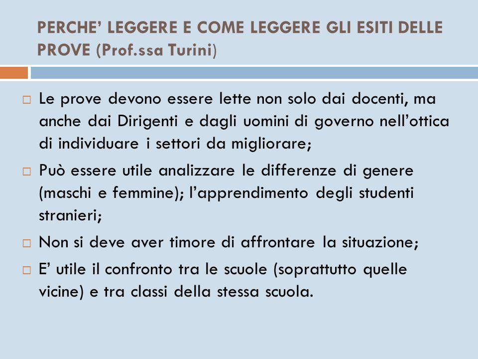 PERCHE' LEGGERE E COME LEGGERE GLI ESITI DELLE PROVE (Prof.ssa Turini)