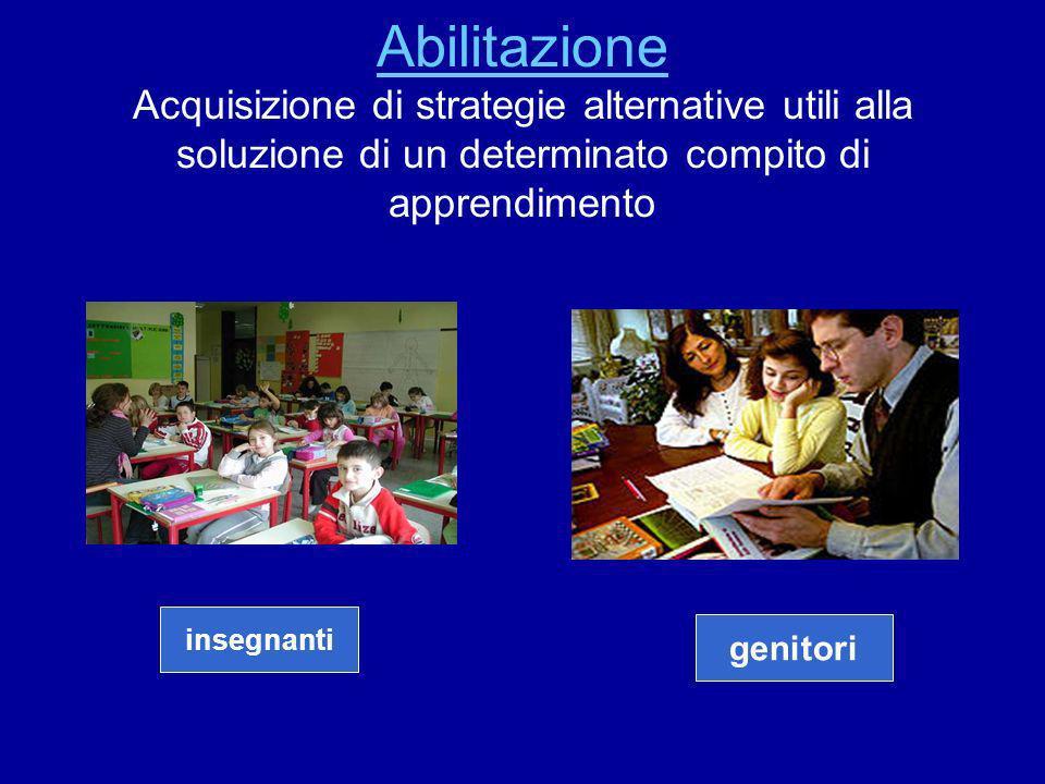 Abilitazione Acquisizione di strategie alternative utili alla soluzione di un determinato compito di apprendimento
