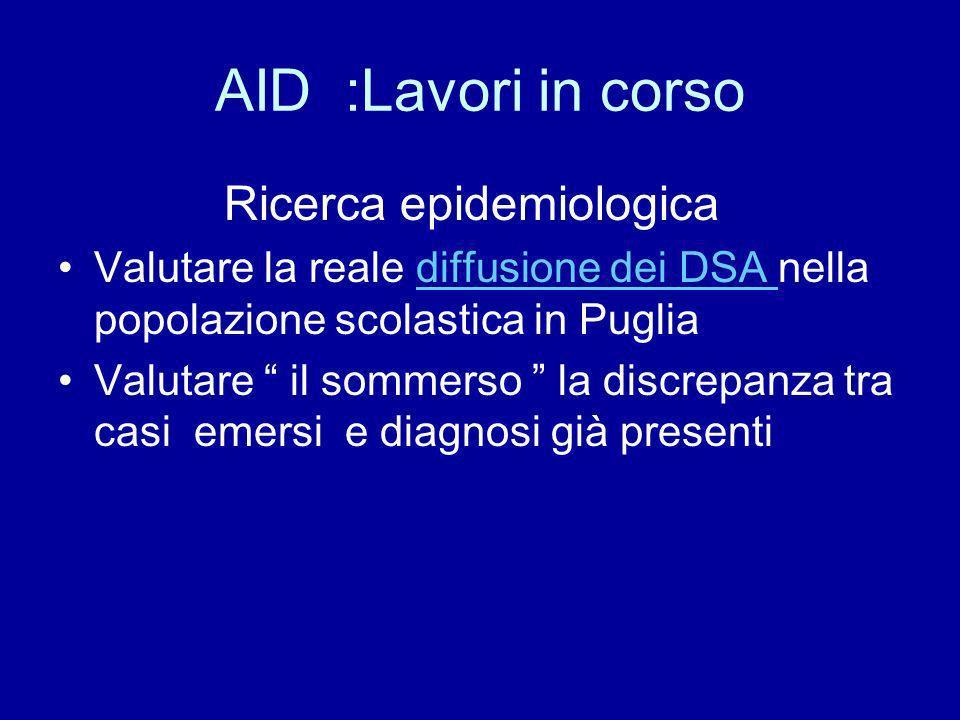 AID :Lavori in corso Ricerca epidemiologica