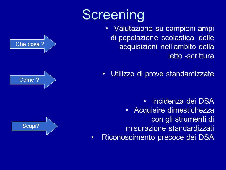 Screening Valutazione su campioni ampi di popolazione scolastica delle