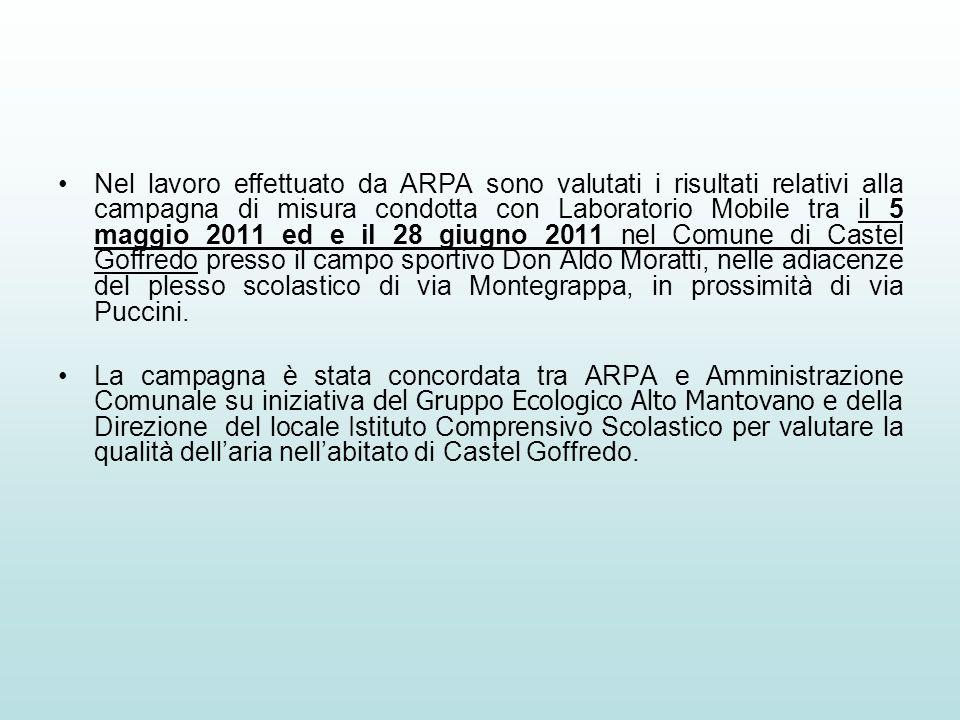 Nel lavoro effettuato da ARPA sono valutati i risultati relativi alla campagna di misura condotta con Laboratorio Mobile tra il 5 maggio 2011 ed e il 28 giugno 2011 nel Comune di Castel Goffredo presso il campo sportivo Don Aldo Moratti, nelle adiacenze del plesso scolastico di via Montegrappa, in prossimità di via Puccini.