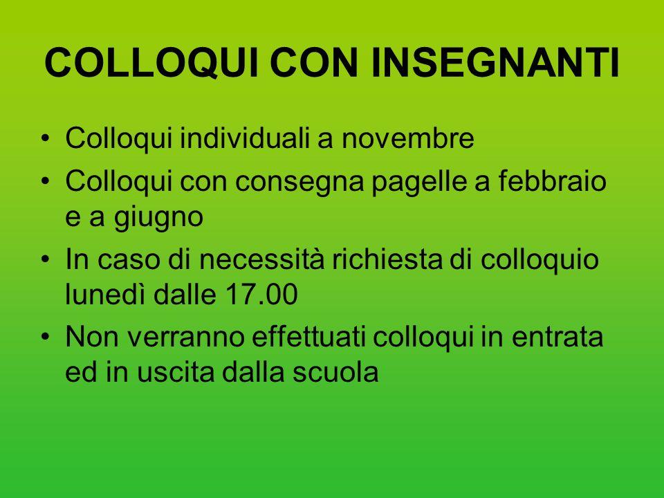 COLLOQUI CON INSEGNANTI