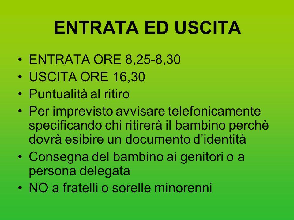 ENTRATA ED USCITA ENTRATA ORE 8,25-8,30 USCITA ORE 16,30